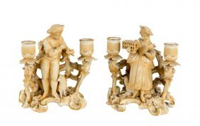 A Pair Of Continental Bisque Figural Two-light