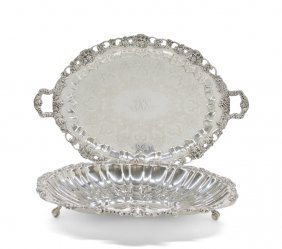 An American Silver-plate Shell Form Footed Tray, W. &