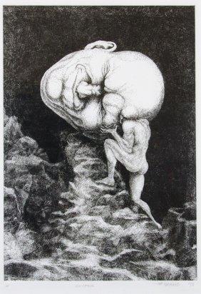 Peter Nuchims, (20th Century), Sisyphus, 1998, Etching,