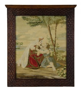 A Continental Needlework In A Chippendale Style Frame