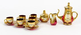A Set Of Four Hand Painted Bohemia Lead Glass Wine