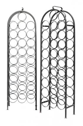 A Pair Of Metal Standing Wine Racks