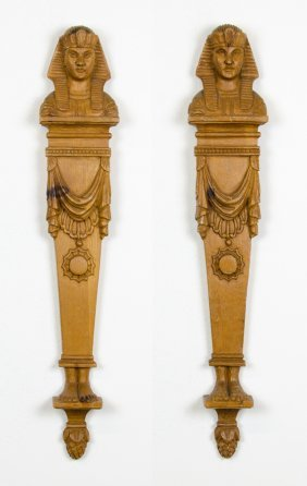 A Pair Of Egyptian Revival Carved Wood Wall Appliques
