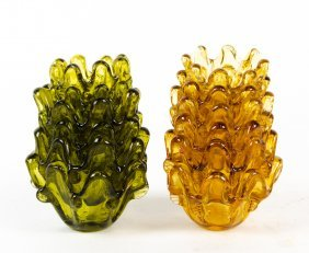Two Sets Of Italian Glass Stacking Bowls