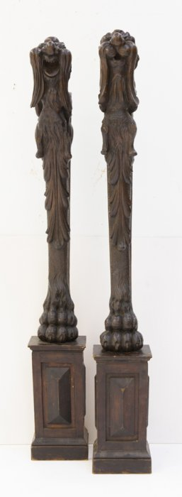 A Matched Pair Of Carved Wooden Mounts In The Jacobean