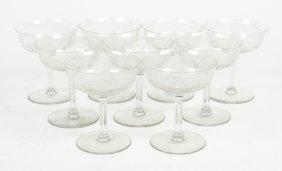 A Set Of Nine Etched Crystal Sherbets
