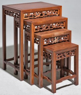 A Chinese Harwood Nest Of Four Tables