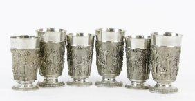 A Set Of Six German Pewter Goblets, Fein Zinn
