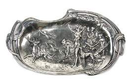 AN ART NOUVEAU STYLE SILVER-PLATE TRAY DEPICTING DIANA