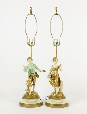 Two 'collection Francaise' Ceramic Figural Lamps