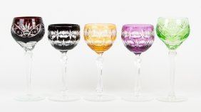 An Assembled Set Of Five Crystal Cut-to-clear Goblets