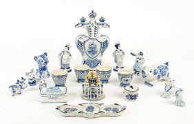 A Collection Of Russian Ghezl Blue And White Ceramic