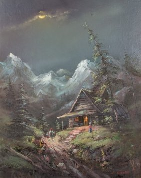 An Idyllic Cabin In The Mountains, Oil On Canvas
