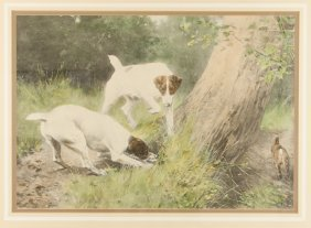 A Charming Hunting Scene Lithograph