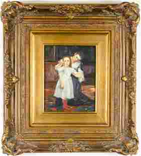 MOTHER AND DAUGHER, OIL ON BOARD