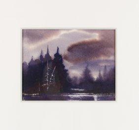 A Landscape By Kc Benson, Watercolor On Paper