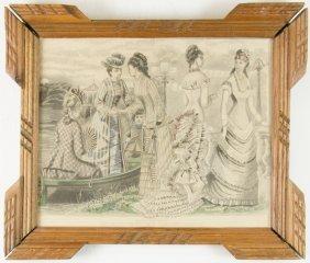 A Hand Colored Engraving 'les Modes Parisiennes'