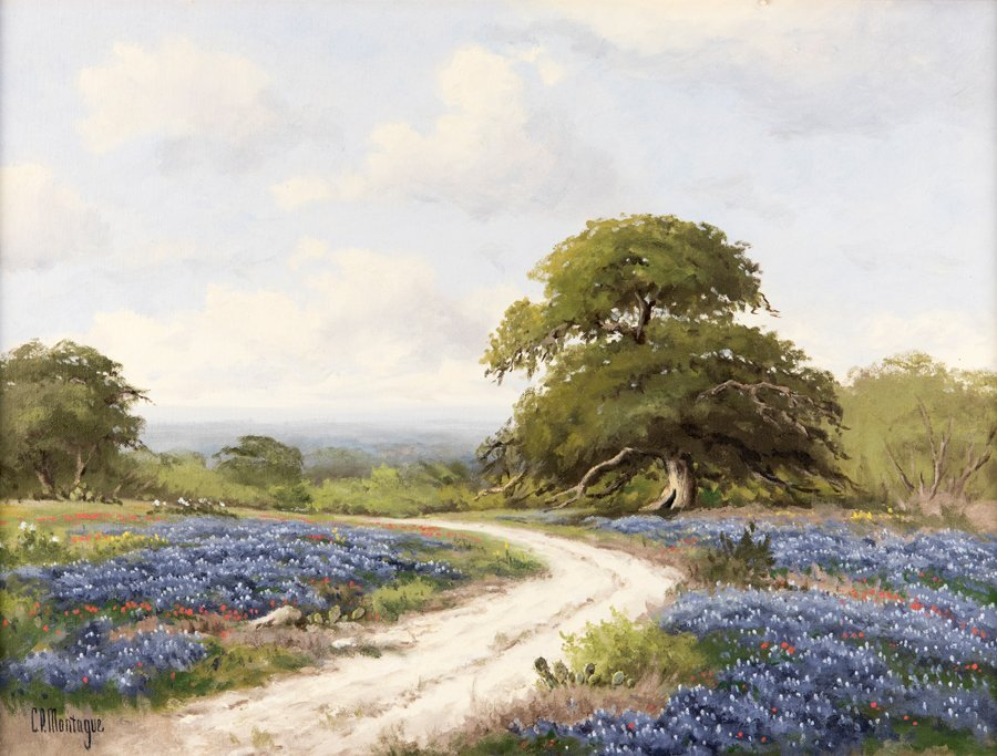 C.P. MONTAGUE, (American, 1927-2010), Bluebonnets, Oil