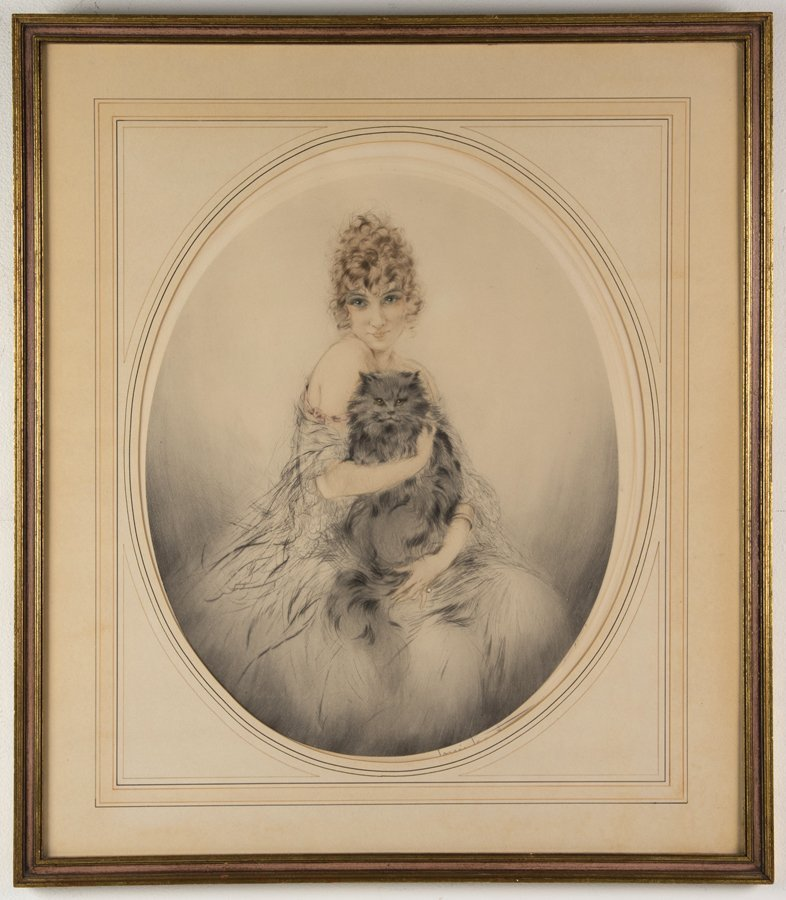 LOUIS ICART, (French, 1888-1950), Persian Cat, Etching, - 2