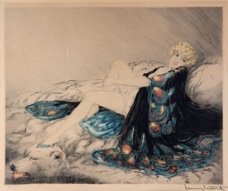 LOUIS ICART, (French, 1888-1950), The Silk Robe, 1926,