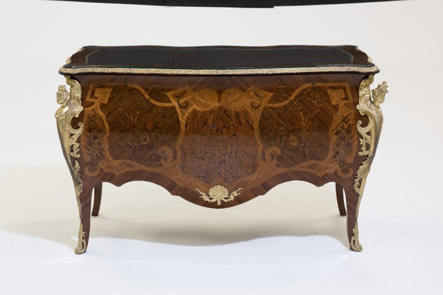 A LOUIS XV STYLE ORMOLU MOUNTED MARQUETRY AND PARQUETRY - 2