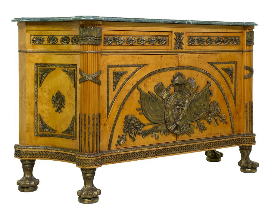 AN EMPIRE STYLE GILT METAL MOUNTED MARBLE TOP SIDEBOARD
