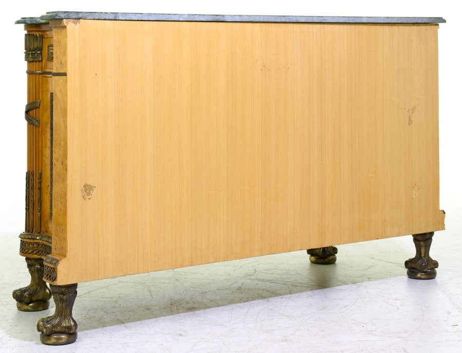 AN EMPIRE STYLE GILT METAL MOUNTED MARBLE TOP SIDEBOARD - 2