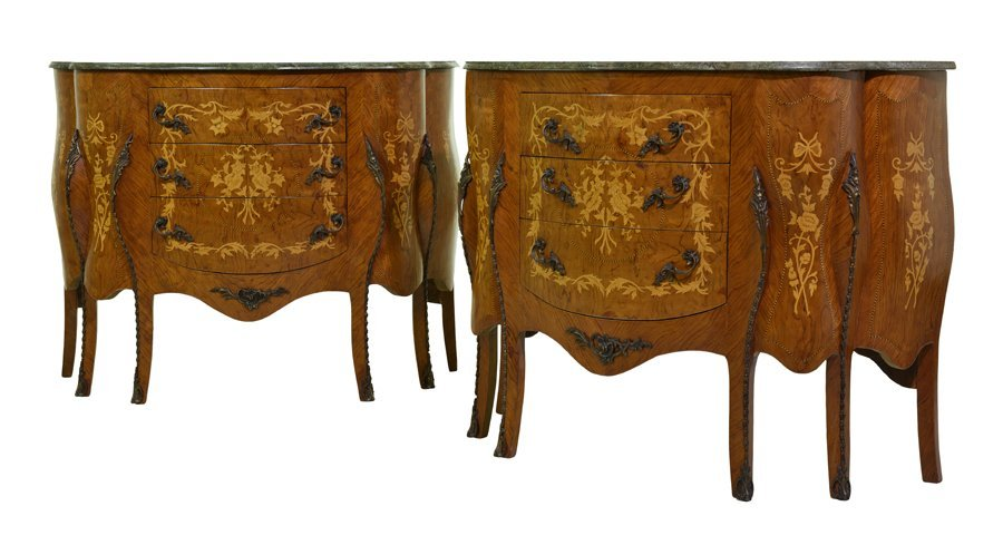 A PAIR OF FRENCH TRANSITIONAL STYLE MARQUETRY AND