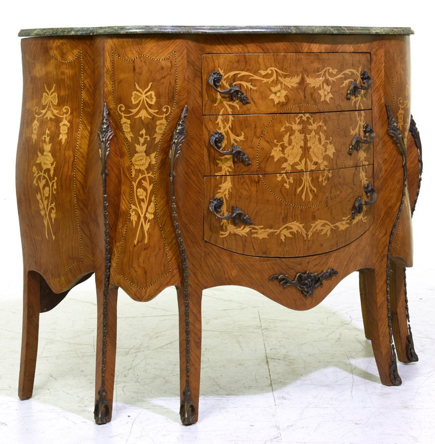 A PAIR OF FRENCH TRANSITIONAL STYLE MARQUETRY AND - 2