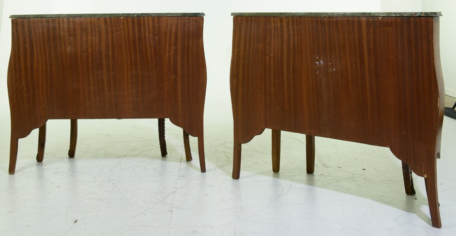 A PAIR OF FRENCH TRANSITIONAL STYLE MARQUETRY AND - 3