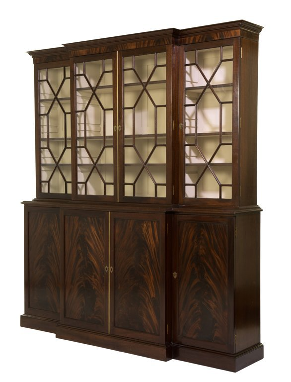 A GEORGE III STYLE MAHOGANY BREAKFRONT BOOKCASE