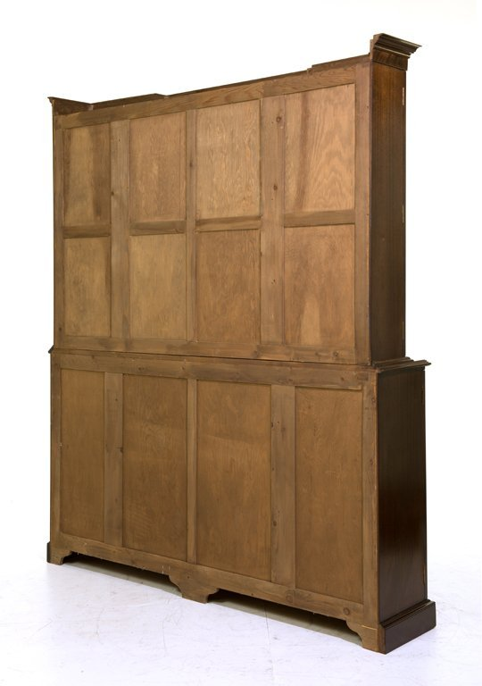 A GEORGE III STYLE MAHOGANY BREAKFRONT BOOKCASE - 2