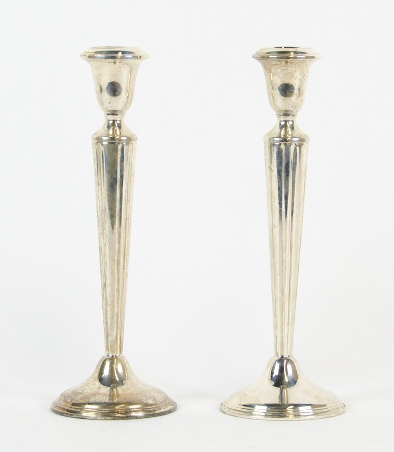 A PAIR OF AMERICAN WEIGHTED STERLING SILVER