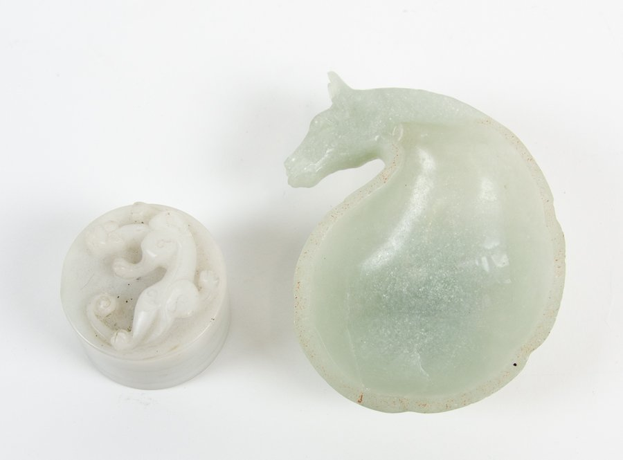 A CHINESE CARVED HARDSTONE WATER COUPE AND SEAL