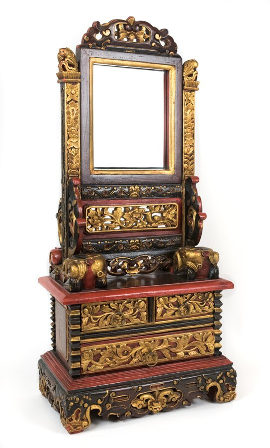 A SOUTH EAST ASIAN STYLE CARVED WOOD TABLE VANITY