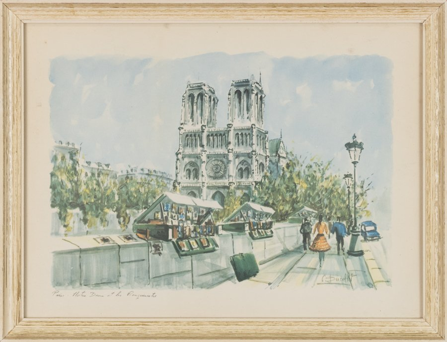 TWO WORKS ON PAPER HIGHLIGHTING PARIS ARCHITECTURE BY