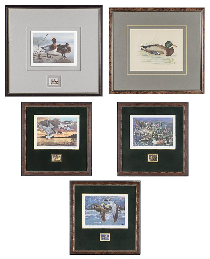 A COLLECTION OF DUCK PRINTS WITH COMMEMORATIVE STAMPS