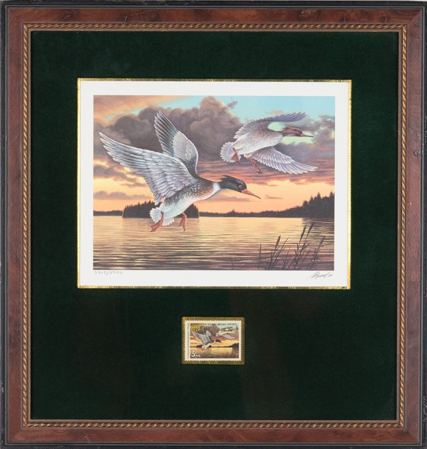 A COLLECTION OF DUCK PRINTS WITH COMMEMORATIVE STAMPS - 4