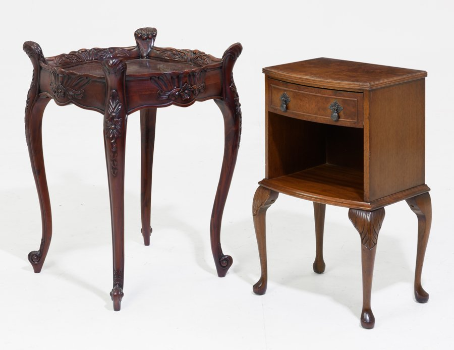 A SIDE TABLE AND BEDSIDE CABINET