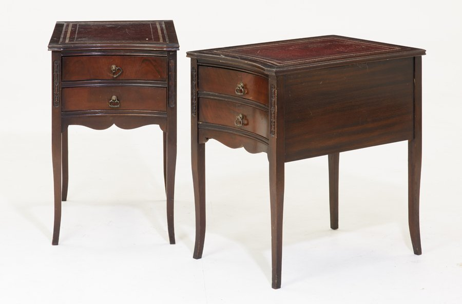 A PAIR OF TOOLED LEATHER TOP END TABLES