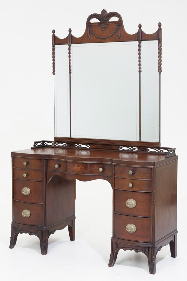 A FEDERAL STYLE MAHOGANY VANITY WITH ASSOCIATED MIRROR