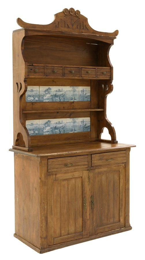 A FRENCH PROVINCIAL PINE BUFFET WITH DECORATIVE TILES
