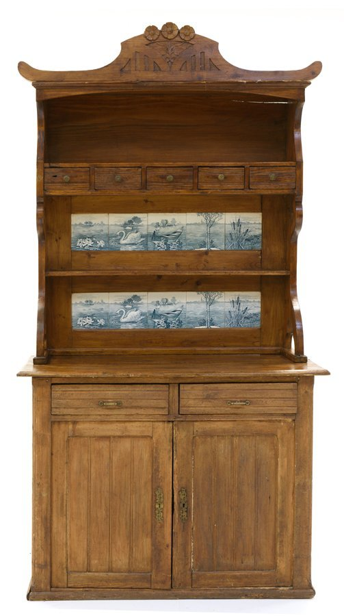 A FRENCH PROVINCIAL PINE BUFFET WITH DECORATIVE TILES - 2