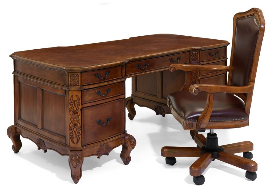 A PARTNERS STYLE DESK WITH MATCHED CHAIR