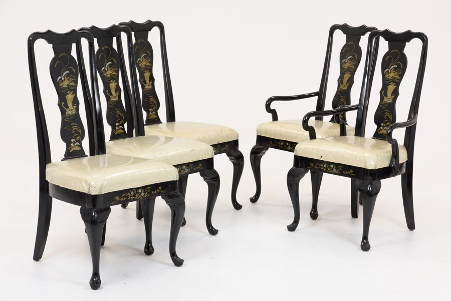 A GROUP OF FIVE GEORGE II STYLE EBONIZED CHINOISERIE