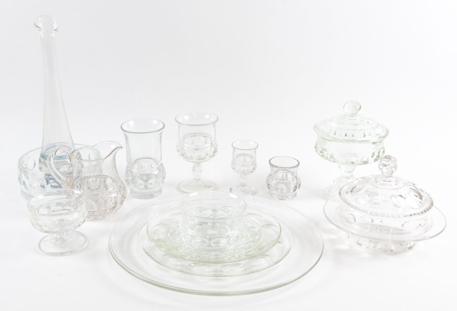 A GROUP OF KINGS CROWN GLASS TABLE WARES - 3