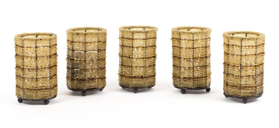 FORTY-FIVE BEADED OIL CANDLE HOLDERS