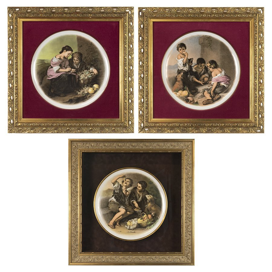 THREE FRAMED HUTSCHENREUTHER TRANSFER DECORATED