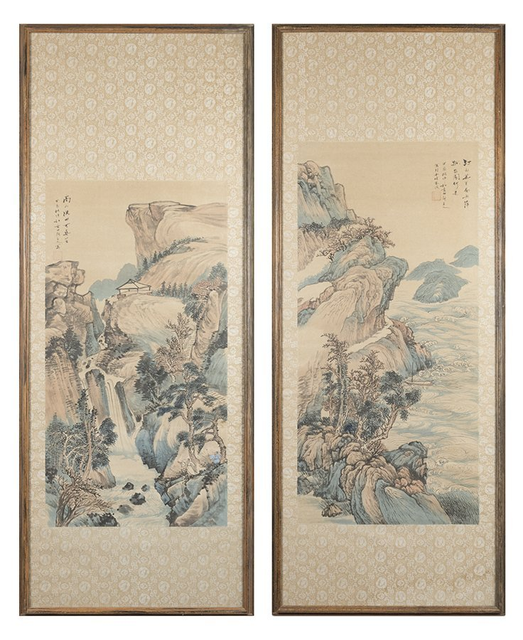 AN ASSOCIATED PAIR OF CHINESE SCROLL PAINTINGS, EACH