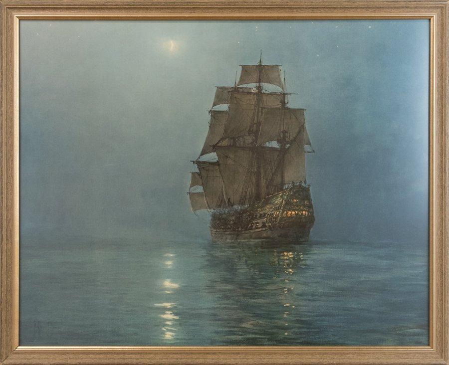 MONTAGUE DAWSON, (British, 1890-1973), Ship in the